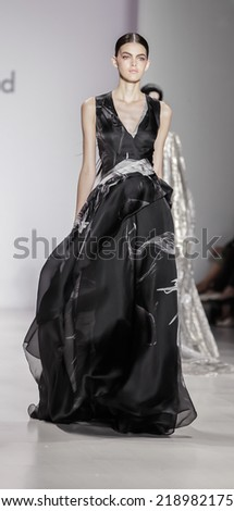 New York, NY, USA - September 09, 2014: Model walks runway for Pamella Roland Spring 2015 Runway show during Mercedes-Benz Fashion Week New York at the Salon at Lincoln Center, Manhattan - stock photo