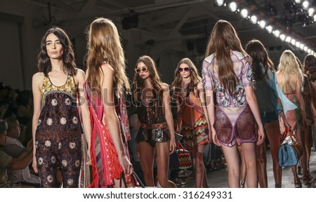 New York, NY, USA - September 11, 2015: Models walk runway for Custo Barcelona Spring/Summer 2016 'SLOW' runway 'show during of Spring 2016 New York Fashion Week at Pier 59 Studios Chelsea Piers,  - stock photo