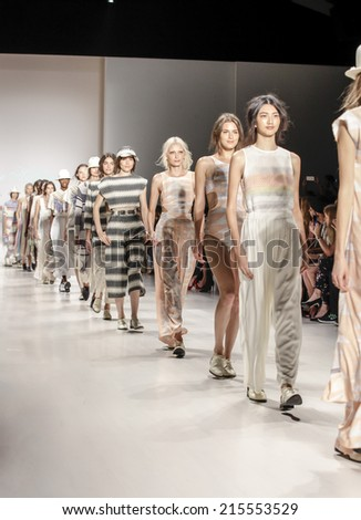 New York, NY, USA - September 06, 2014: Models walk runway for Mara Hoffman Spring 2015 Runway show during Mercedes-Benz Fashion Week New York at the Salon at Lincoln Center, Manhattan - stock photo