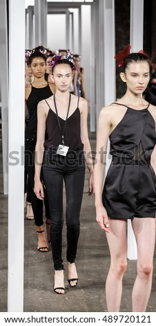 New York, NY, USA - September 9, 2016: Models walk runway rehearsal for the MILLY by Michelle Smith Spring/Summer 2017 runway show during New York Fashion Week SS 2017 at The Artbeam, Manhattan