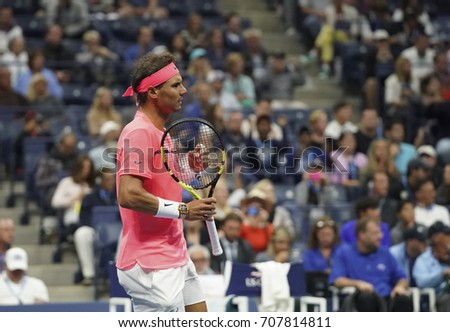 New York, NY USA - September 2, 2017: Rafael Nadal of Spain reacts during match against Leonardo Mayer of Argentina during US Open Championships 2017 at Billie Jean King National Tennis Center