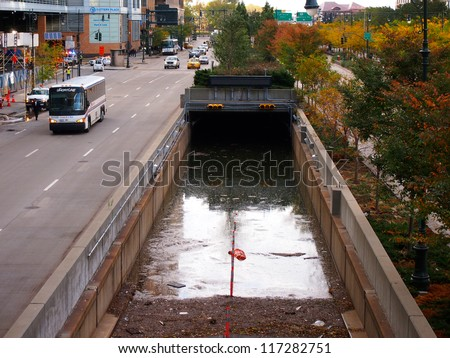 NEW YORK - OCT 31: A highway underpass to the Hugh L. Carey Tunnel (Brooklyn Battery Tunnel) is flooded on October 31, 2012 in New York City, NY. Superstorm Sandy shut down much of the city. - stock photo