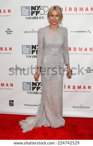 NEW YORK-OCT 11: Actress Naomi Watts attends the Closing Night Gala Presentation of 'Birdman Or The Unexpected Virtue Of Ignorance' at the New York Film Festival on October 11, 2014 in New York City. - stock photo