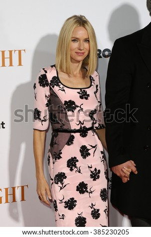 NEW YORK-OCT 27: Actress Naomi Watts attends the 'Spotlight' New York premiere at Ziegfeld Theatre on October 27, 2015 in New York City. - stock photo