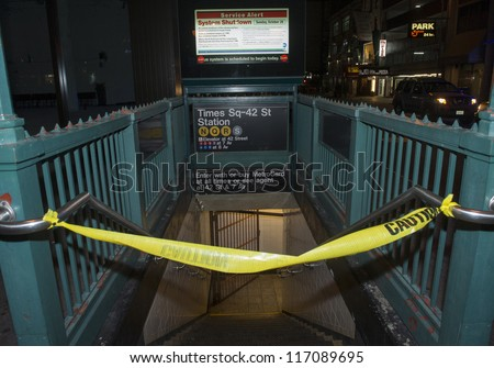 NEW YORK - OCT 28 : All subway system in New York closed due to the arrival of Hurricane Sandy on October 28 2012 in New York. - stock photo