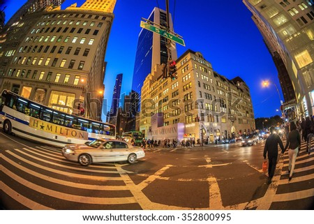 NEW YORK - OCT31: Cityscape of Fifth Avenue, New York City at twilight on Oct 31, 2015. New York City is the most densely populated city in the United States. - stock photo