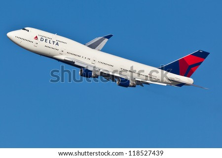 NEW YORK - OCT. 8:Delta Boeing 747 taking off from JFK in New York on October 8, 2012 Delta Air Lines is one of the major American airlines that serves domestic and international destinations. - stock photo