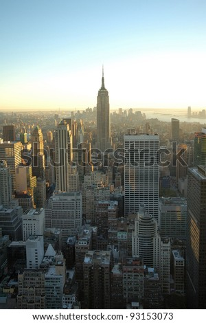 NEW YORK - OCT 19 : Empire state building facade on October 19, 2011 in New York. It stood as the world's tallest building for more than 40 years (from 1931 to 1972) - stock photo