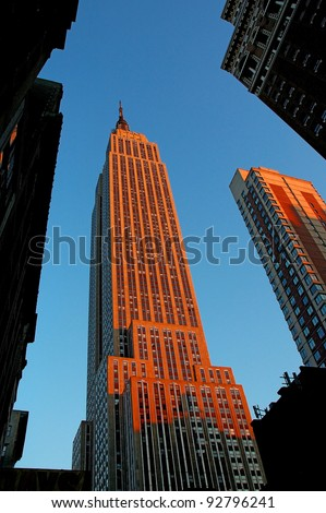 NEW YORK - OCT 19 : Empire state building facade on October 19, 2011. It stood as the world's tallest building for more than 40 years (from 1931 to 1972) - stock photo