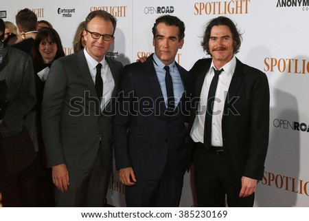 NEW YORK-OCT 27: (L-R) Actors Tom McCarthy, Brian d'Arcy James and Billy Crudup attend the 'Spotlight' New York premiere at Ziegfeld Theatre on October 27, 2015 in New York City. - stock photo