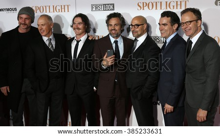 NEW YORK-OCT 27:(L-R) Liev Schreiber, Michael Keaton, Billy Crudup, Mark Ruffalo, Stanley Tucci, Brian d'Arcy James &Tom McCarthy at 'Spotlight'  premiere at Ziegfeld Theatre on October 27, 2015. - stock photo