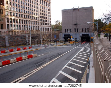 NEW YORK - OCT 31: The flooded Hugh L. Carey Tunnel (formerly called the Brooklyn Battery Tunnel) sits empty on October 31, 2012 in New York City, NY. Superstorm Sandy shut down much of the city. - stock photo