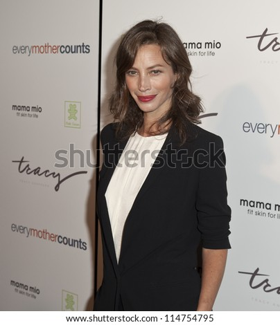 NEW YORK - OCTOBER 05: Christy Turlington Burns attends launch of The Tracy Anderson Method Pregnancy Project at Le Bain At The Standard Hotel on October 05, 2012 in New York City. - stock photo