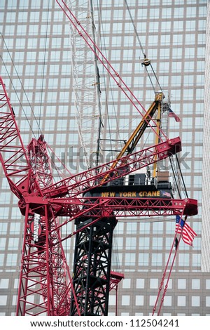 NEW YORK - OCTOBER 09: Crane builds the One World Trade Center site on October 09 2009 in Manhattan New Center, USA. - stock photo