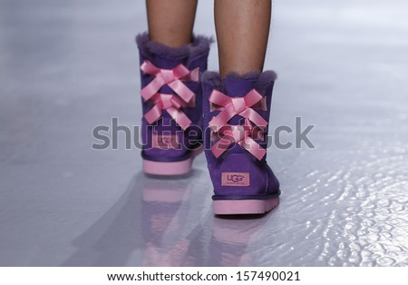 NEW YORK - OCTOBER 5: Girl walks runway for Ugg Australia collection ...