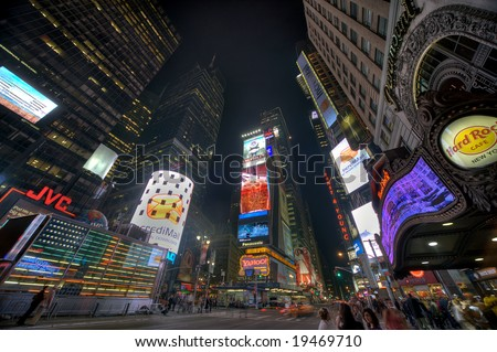 NEW YORK - OCTOBER 8: New York Times Square street scene October 8, 2008 - stock photo