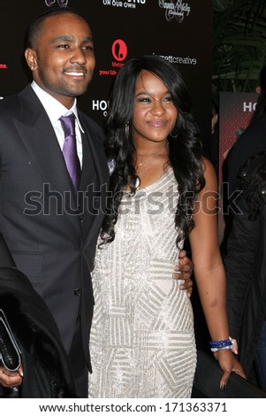 """NEW YORK - OCTOBER 22, 2012: Nick Gordon and Bobbi Kristina Brown attend the premiere of """"The Houstons: On Our Own"""" at the Tribeca Grand on October 22, 2012 in New York City. - stock photo"""