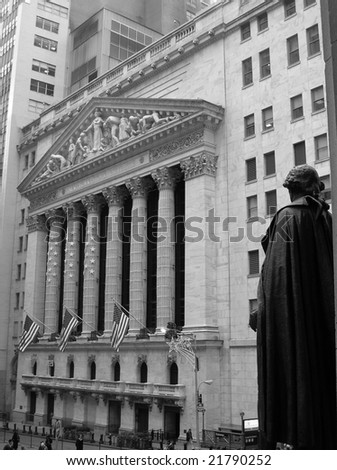 New York, October, 2008 - Outside the New York Stock Exchange in Lower Manhattan, during the time of the second-largest point drop of the Dow in history. - stock photo