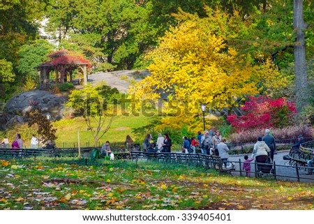 NEW YORK-OCTOBER 29 - People enjoy a walk through Central Park on a beautiful Autumn day on October 29, 2015 in New York City.