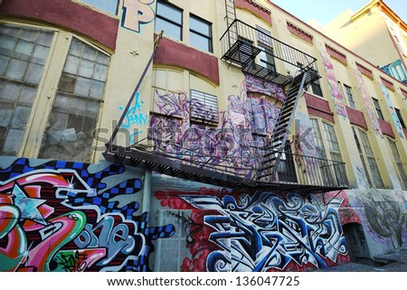 NEW YORK - OCTOBER 4: 5 Point z is a cultural landmark for hip-hop in Queens on October 4 2010. It is likely to be demolished by September 2013 and build two apartment buildings in the future. - stock photo