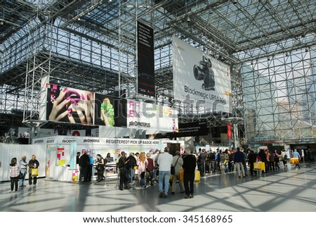 NEW YORK - OCTOBER 22, 2015: Registration area at Photoplus conference and expo at Javits Center - stock photo