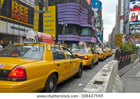 NEW YORK - OCTOBER 7, 2007: Traffic across Times square on October 7, 2007 in New York City. Times Square is the most visited tourist attraction in the world with over 39 million visitors annually.