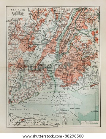 New York old map from the end of 19th century period - stock photo
