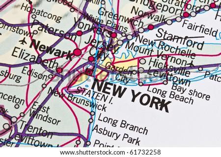 New York on a map closeup - stock photo