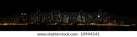 New York Panorama - Manhattan Sky Line at Night as seen from New Jersey, New York City, New York, United States of America - stock photo