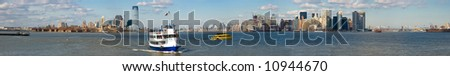 New York Panorama - Waterfront View with Boats on Manhattan and New Jersey Skyline - stock photo