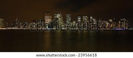 New York panoramic view of downtown Manhattan - stock photo