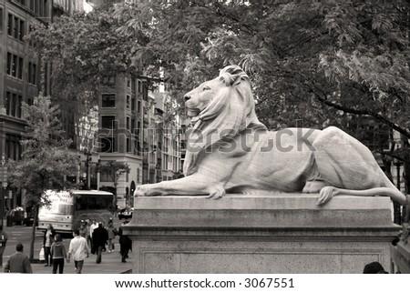 New York public library logo (symbol) - LION, Manhattan, New york, America, United States of America - stock photo