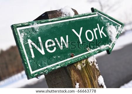 NEW YORK road sign - stock photo