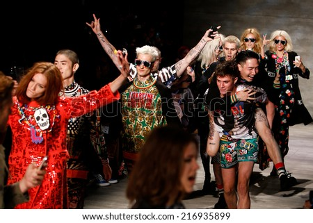 NEW YORK-SEP 8: A model walks the runway at the Libertine fashion show during Mercedes-Benz Fashion Week Spring/Summer 2015 at The Pavillion at Lincoln Center on September 8, 2014 in New York City. - stock photo