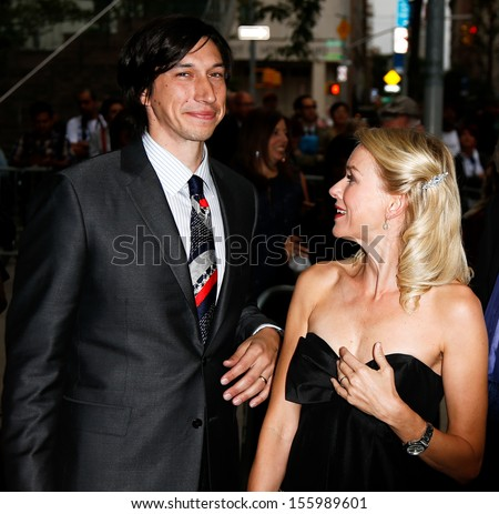 "NEW YORK-SEP 27: Actor Adam Driver (l) and Naomi Watts are seen filming ""While We Were Young on September 27, 2013 in New York City. - stock photo"