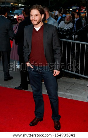 NEW YORK-SEP 18: Actor Daniel Bruhl attends the Ferrari & The Cinema Society screening of 'Rush' at Chelsea Clearview Cinema on September 18, 2013 in New York City.