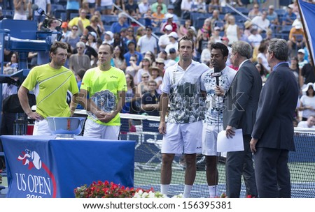 NEW YORK - SEP 8: Leander Paes of India, Radek Stepanek of Czech Republic & Alexander Peya of Austria, Bruno Soares of Brazil pose with 2013 US Open trophies at USTA Tennis Center on Sep 8 2013 in NYC