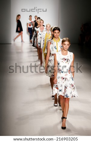NEW YORK-SEP 8: Model Danielle Knudson leads models on the runway at the OUDIFU fashion show at Mercedes-Benz Fashion Week Spring/Summer 2015 at Lincoln Center on September 8, 2014 in New York City.