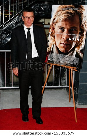 NEW YORK-SEP 18: Screenplay writer Peter Morgan attends the Ferrari & The Cinema Society screening of 'Rush' at Chelsea Clearview Cinema on September 18, 2013 in New York City.   - stock photo