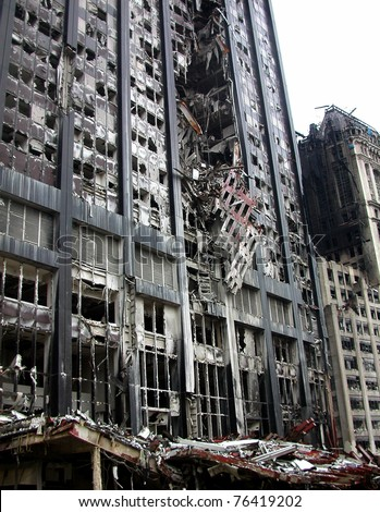 NEW YORK - SEPT 20 :  Building damage across the street from Ground Zero World Trade Centre on September 20, 2001 in New York. - stock photo