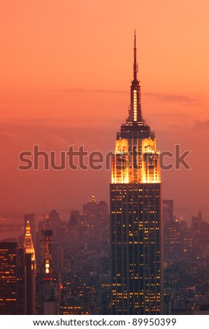 NEW YORK - SEPT 13 : Empire state building facade on September 13, 2008. It stood as the world's tallest building for more than 40 years (from 1931 to 1972). - stock photo