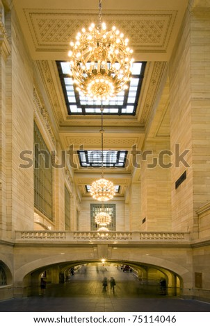 NEW YORK - SEPT 17: Grand central terminal station pictured on September 17, 2010 in New York (USA). Opened in 1871, It is the largest train station in the world by number of platforms (44 platforms). - stock photo