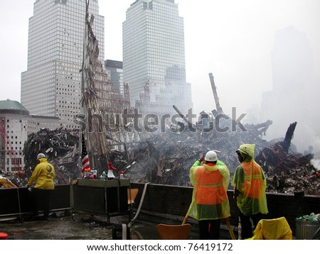 NEW YORK - SEPT 20 :  Image of Ground Zero World Trade Centre from Fire Station roof on September 20, 2001 in New York.