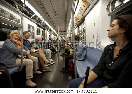 NEW YORK - SEPT 22: New York's subway system is the most extensive in the world by number of stations on September 22nd, 2013 in Manhattan, New York. - stock photo