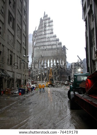 NEW YORK - SEPT 20 :  Street view of Ground Zero World Trade Centre on September 20, 2001 in New York. - stock photo