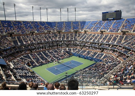 NEW YORK - SEPTEMBER 9: A crowded Arthur Ashe Stadium for a U.S. Open tennis match on September 9, 2010 in New York. In this semifinal match, King and Shedova defeat Black and Rodionava 6-3 4-6 6-4.