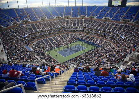 NEW YORK - SEPTEMBER 9: A crowded Arthur Ashe Stadium for a U.S. Open tennis match on September 9, 2010 in New York. In this quarterfinal match, Mikhail Youzhny defeats Stanislas Wawrinka. - stock photo
