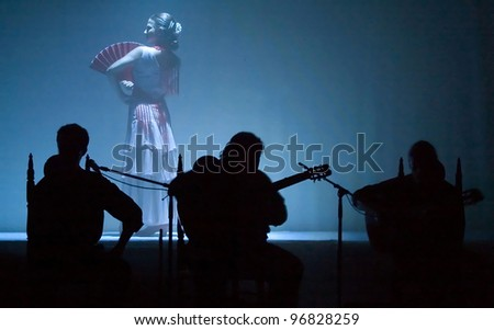 NEW YORK - SEPTEMBER 15: A flamenco performance by Andrea Del Conte Danza Espana takes place at the Thalia Spanish Theatre on September 15, 2006 in Queens, NY. - stock photo