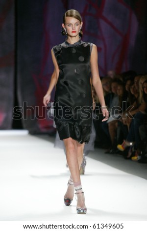 NEW YORK - SEPTEMBER 11: A model is walking the runway at Cynthia Rowley collection presentation for Spring/Summer 2011 during Mercedes-Benz Fashion Week on September 11, 2010 in New York