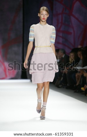 NEW YORK - SEPTEMBER 11: A model is walking the runway at the Cynthia Rowley collection presentation for Spring/Summer 2011 during Mercedes-Benz Fashion Week on September 11, 2010 in New York